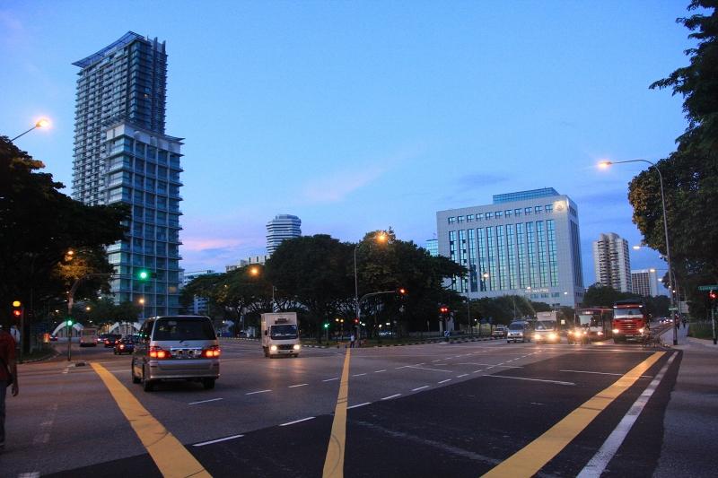 シンガポールの朝の道2