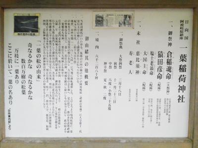 一葉稲荷神社(一ッ葉稲荷神社)由緒@[宮崎市]日向国阿波岐原鎮座