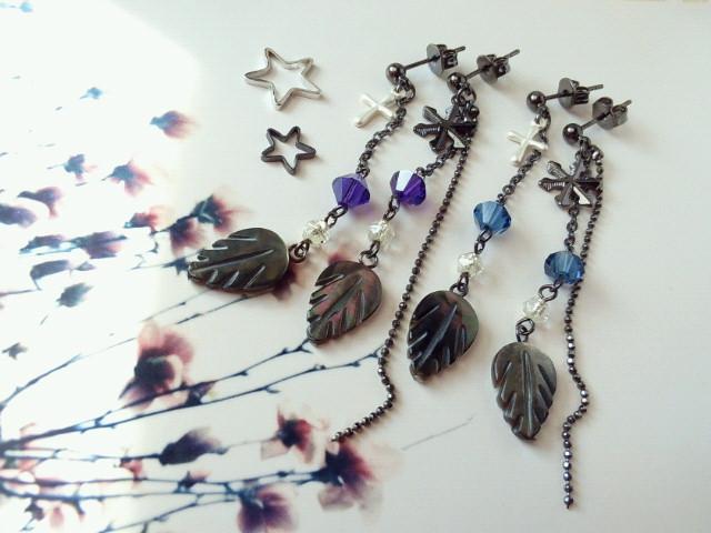 黒蝶貝とクリスタライズの冬ピアス1