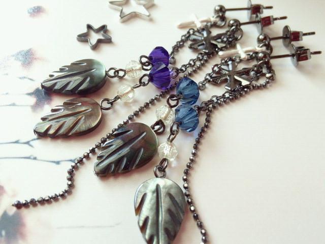 黒蝶貝とクリスタライズの冬ピアス2