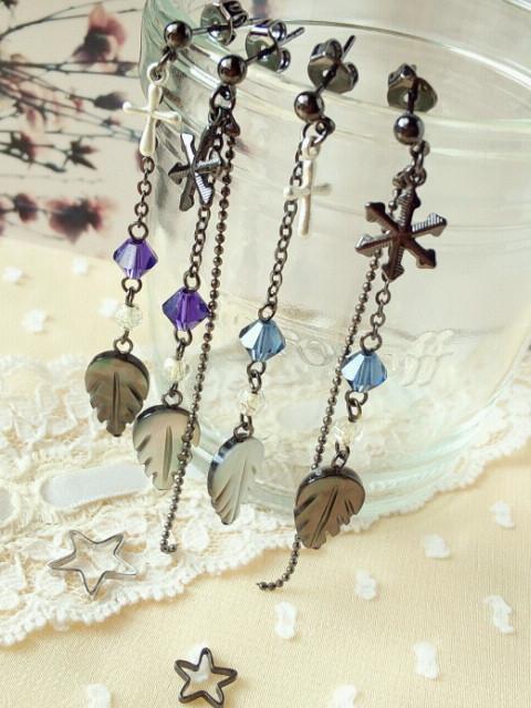 黒蝶貝とクリスタライズの冬ピアス3