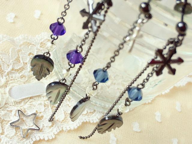 黒蝶貝とクリスタライズの冬ピアス4