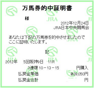 2012阪神カップ三連複