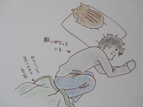 猫 枕に浸食