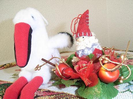 サンタと鳥