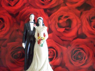 バラとカップル