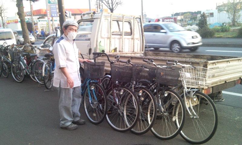 相模原業者会の丸十のご主人と5台の自転車