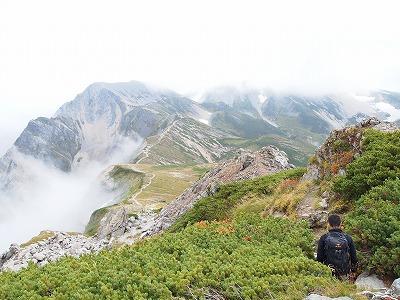 白馬岳から杓子岳へ縦走。
