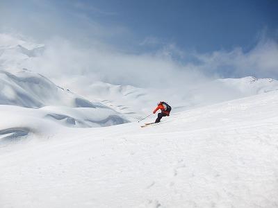 山崎カールを滑降。