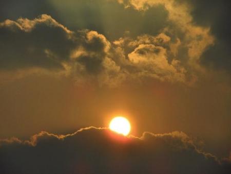 輝く夕陽 021