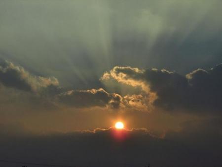 輝く夕陽 020