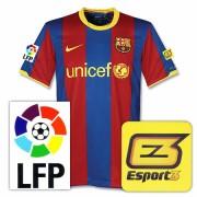 バルセロナ10-11ホームユニフォームEsport3チャリティパッチ