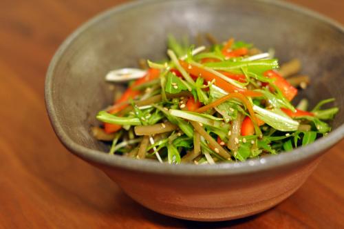 きんぴらごぼうと水菜のサラダ