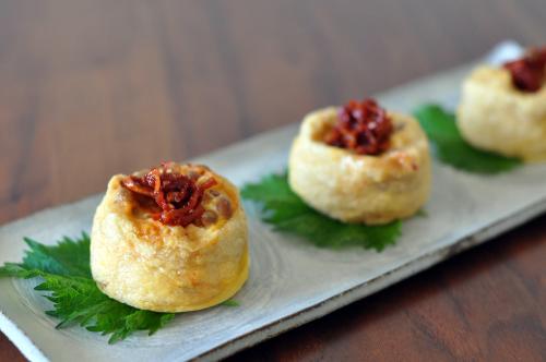納豆キムチーズオムレツ 油揚げ包み
