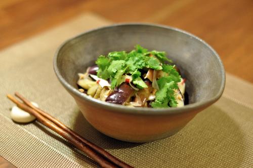 蒸し鶏と蒸しなすのベトナム風サラダ