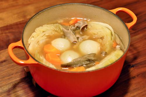 ゴロゴロ野菜のもつ鍋風ポトフ