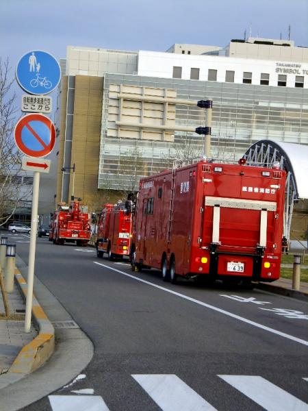 待機消防車