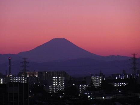 今年の夕焼け富士