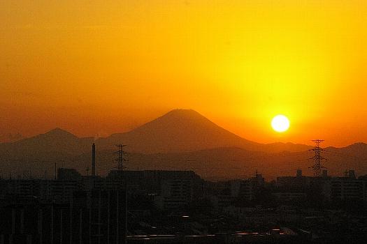 富士に沈む夕陽A