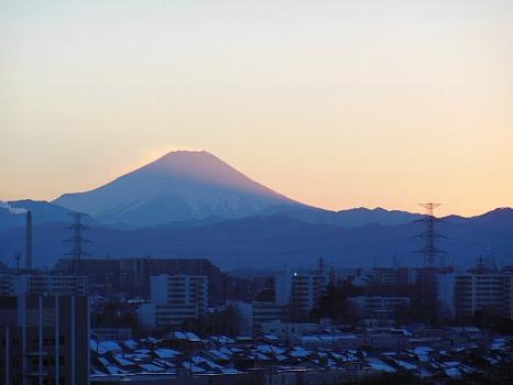 冬の夕暮れの富士