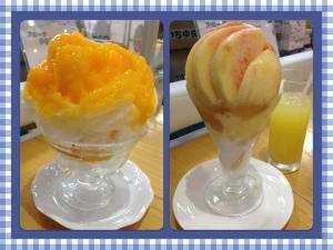マンゴー氷、桃パフェ