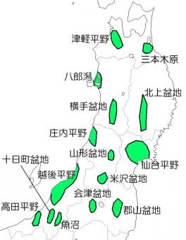 東北地方の米どころ