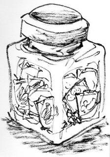ガラス瓶に豆菓子