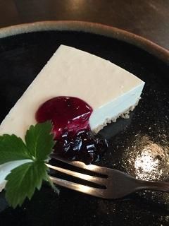 風の森のログハウスカフェ オルファ レアチーズケーキ