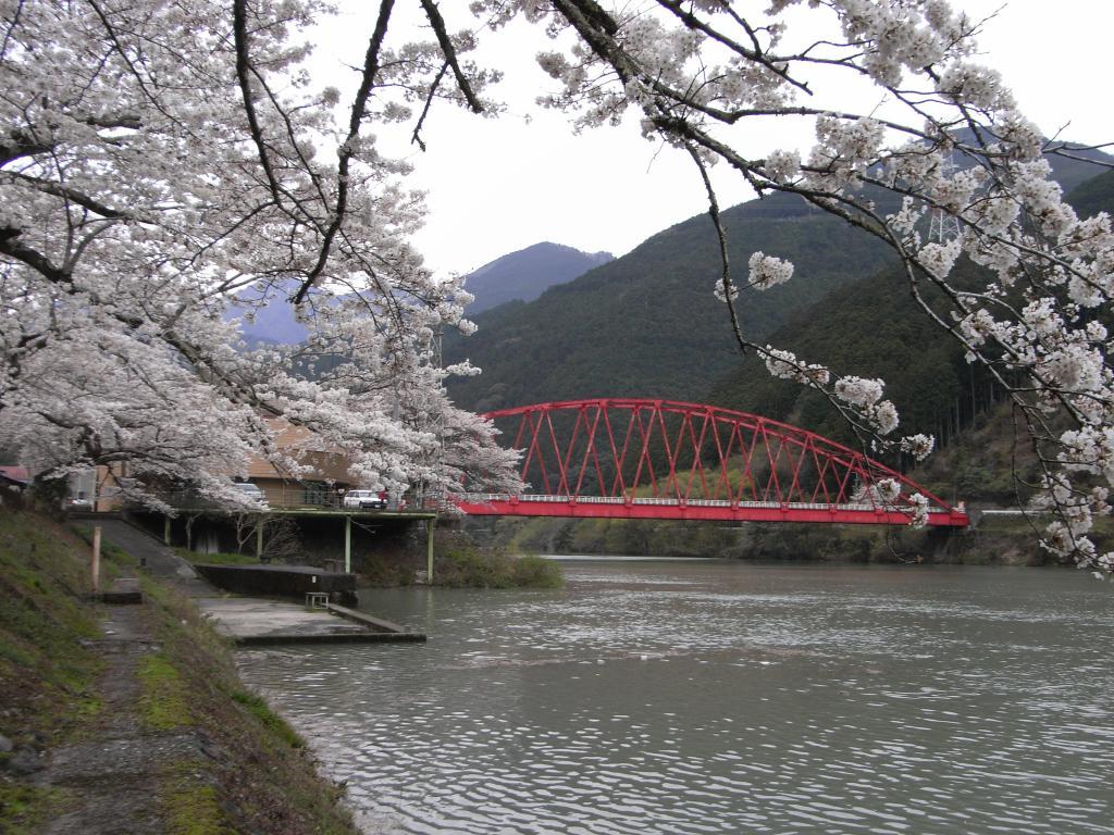 湖に掛かる赤い橋が際立ってます