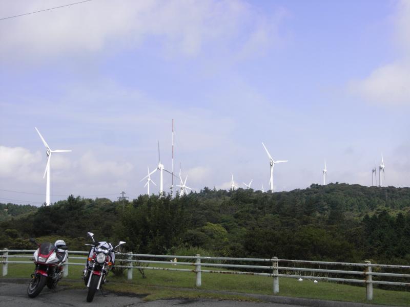 巨大風車が何基も道沿いに林立する風景は壮観です☆
