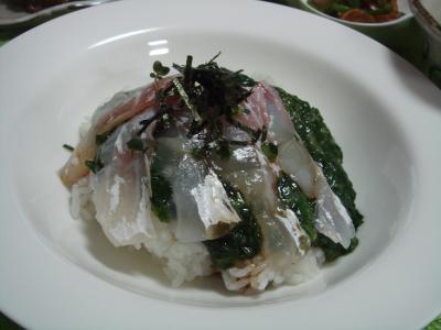 鯛、モロヘイヤ丼 2