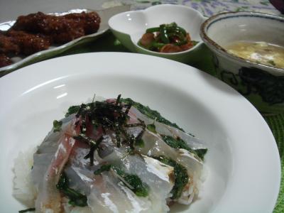 鯛、モロヘイヤ丼 1