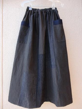 古布縞木綿ギャザータックスカート