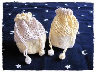 手編みの丸底きんちゃく