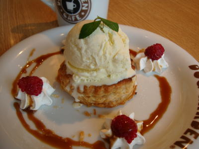 アップルパイにバニラアイス