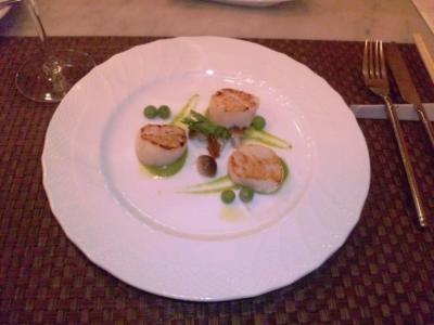 コイズミ(La briffe Chez KOIZUMI)ホタテ貝柱の翡翠えんどう豆のピューレ