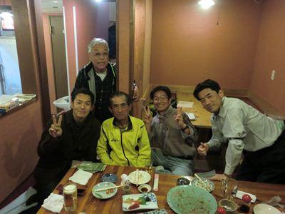 せきや2日目 (左から)旦那さん、八重ちゃん、Nakayoshiさん、木曽路アスリートさん、アッチャン
