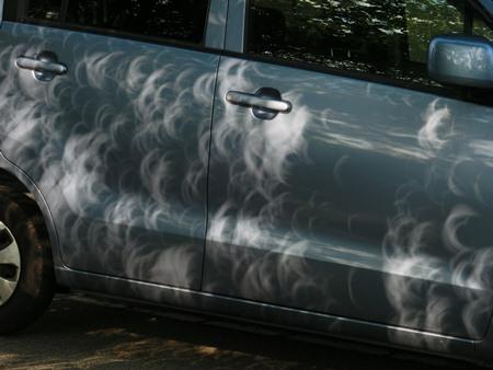 車に木漏れ日