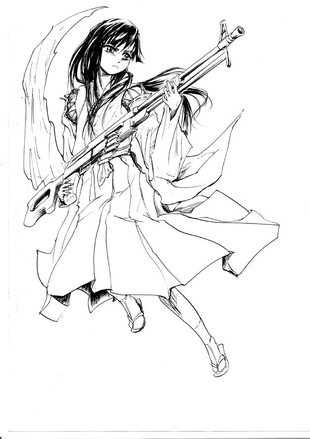 巫女装束と機関銃