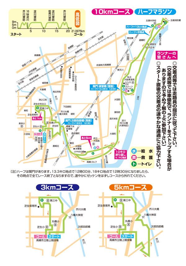 高槻シティハーフマラソンのコース図