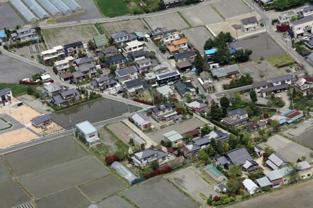 我家の航空写真