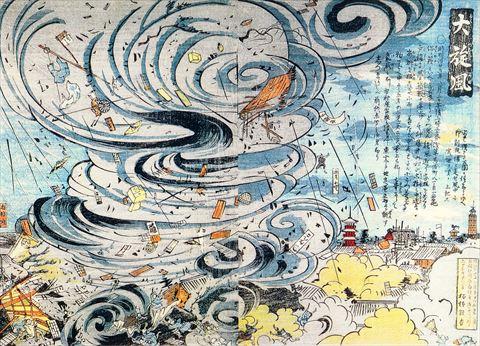 浅草で起きた大旋風の様子