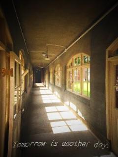文翔館 窓からの風景 旧県会議事堂への渡り廊下