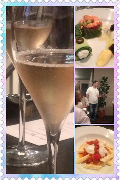 シャンパン 前菜四種 うらけんさん リコッタ和えペンネとカポナータ スカモルツァがけ