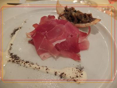9-3ディナー 前菜 イタリアン生ハム バルメザンチーズを添えて