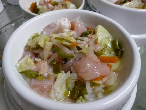 熱々の野菜と、冷たい鶏肉でちょうどいい温度になる