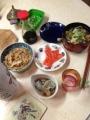2014116夕飯豚汁切り干し大根サーモンの刺身生食牡蠣マッコリ