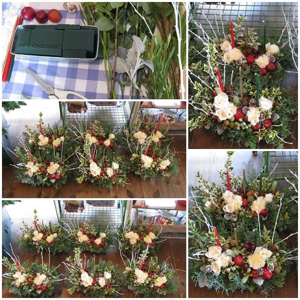 20111130BerryHome苺手芸部クリスマスフラワーアレンジ教室