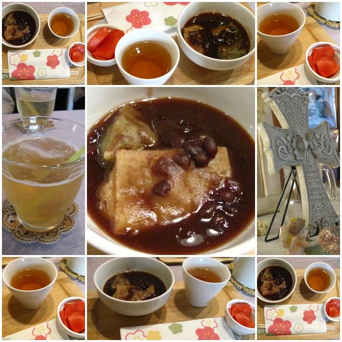 20120115NikesRetreat玄米餅&よもぎ餅のぜんざい、黒豆茶、かぶのお漬物