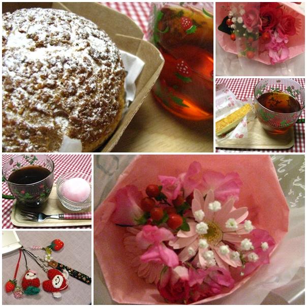 20120115Nikesのブーケ&みっちーのチーズケーキ&sayuのnikesちゃん&苺の雪見だいふく